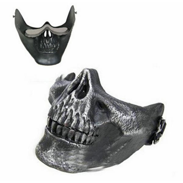 Skull Jaw Half Face Halloween Mask Costume Paintball Accessory Gold or Silver