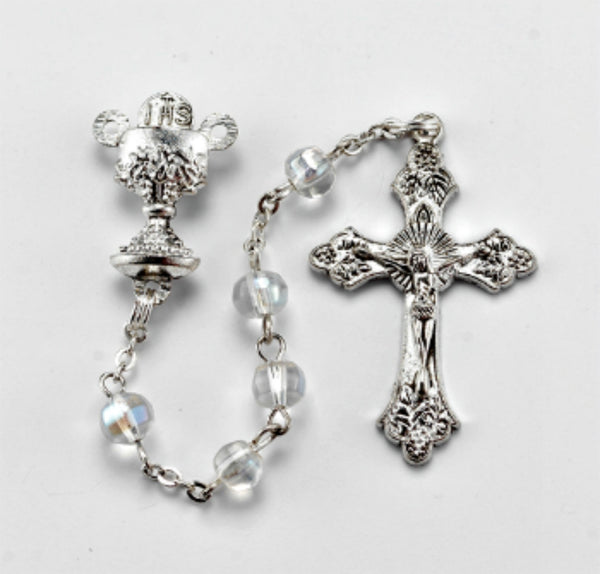 First Communion Rosary Clear Crystal Chalice Centerpiece Hirten First Communion Rosary Clear Crystal Chalice Centerpiece