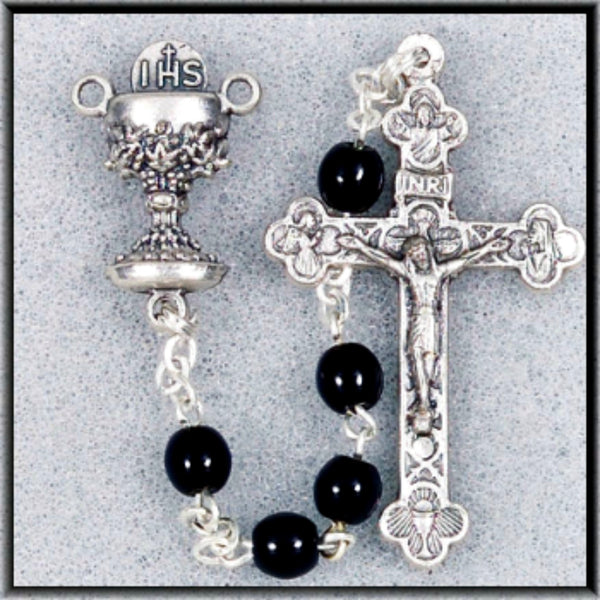 First Communion 5MM Black Glass Rosary Beads with Chalice Centerpiece