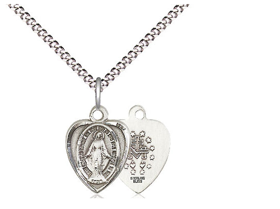 "Bliss Sterling Silver Miraculous Medal in Heart Necklace Pendant 18"" Chain"