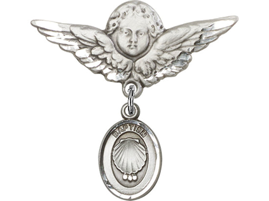 Baptism Guardian Angel Sterling Silver Baby Badge Lapel Pin Bliss 0974SS/0735SS