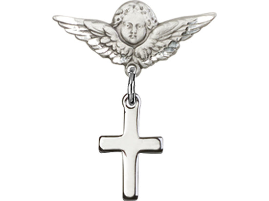 Guardian Angel Sterling Silver Cross Baby Badge Lapel Pin Bliss 1006SS/0735SS
