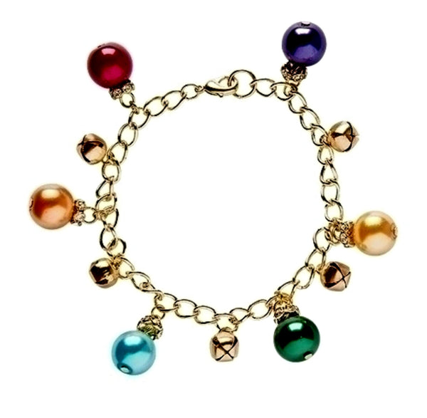 Festive Multi Color Christmas Ball Ornament & Jingle Bells Bracelet Roman 10477