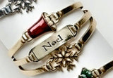 Festive Gold or Silver Color Christmas Holiday Bracelet YOU CHOOSE - Boxed