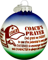 Coach's Prayer Christmas Ball Ornament - Bronner Sports Coach Gift!