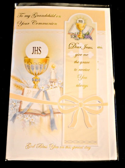 Grandchild First Communion Greeting Card w/ Bookmark - Printed in Italy Religious Art 11-3112
