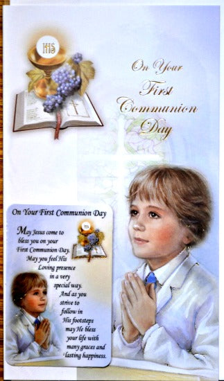 General First Communion Greeting Card & Prayer Card - Boy #11-3211