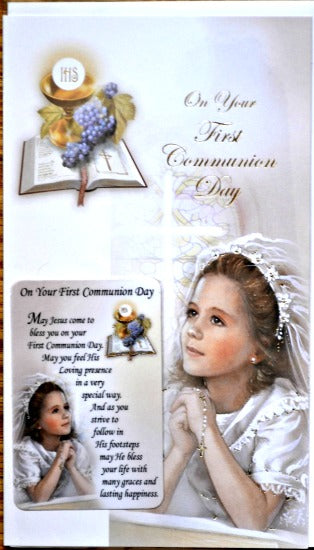 General First Communion Greeting Card & Prayer Card - Girl #11-3212