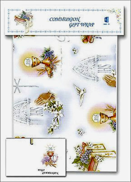 First Communion Gift Wrap Sheet with Gift Card Religious Art 11-8004