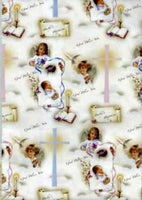Baptism Gift Wrap Sheet with Gift Card - Printed in Italy