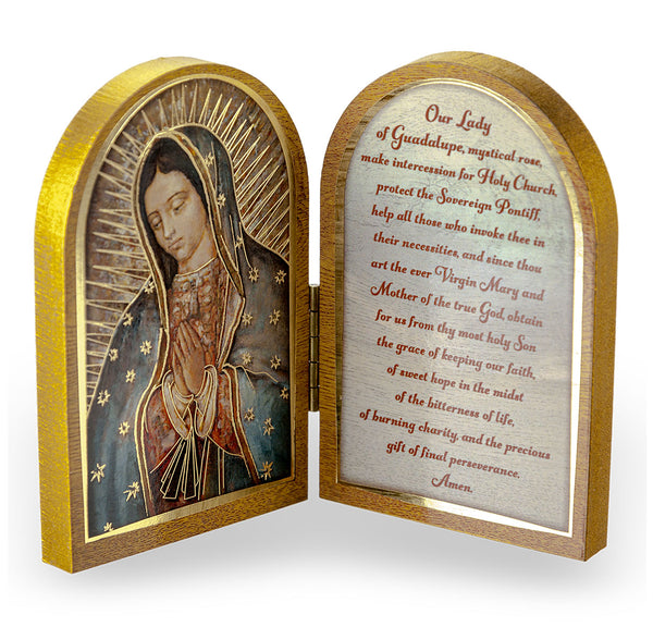 Our Lady of Guadalupe Diptych Standing Plaque with Prayer Hirten 1204-217