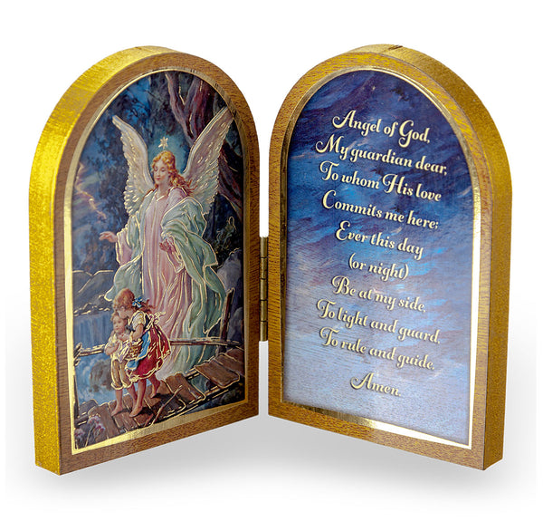 Guardian Angel Diptych Standing Plaque with Prayer Hirten 1204-350