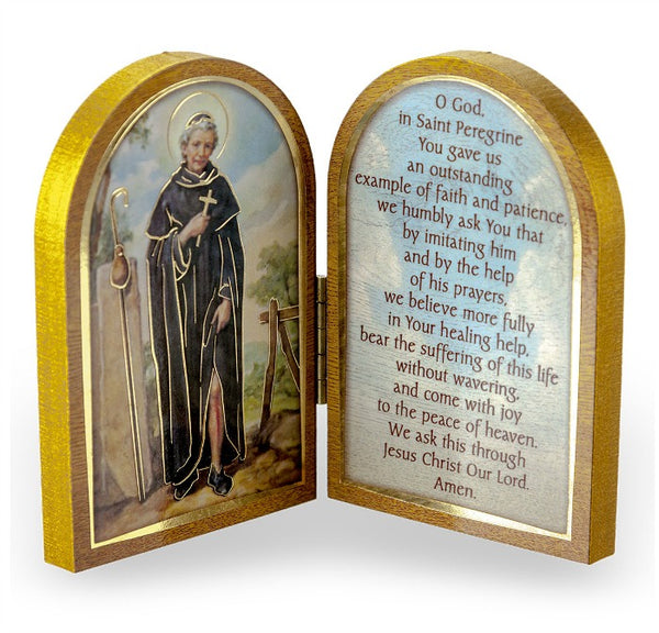 St. Peregrine Diptych Standing Plaque with Prayer - Patron of Cancer Sufferers
