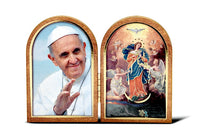 Our Lady Udoer of Knots & Pope Francis Wood Bi-Fold Standing Plaque