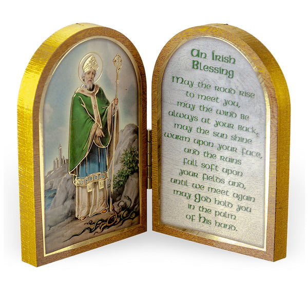 St. Patrick of Ireland Diptych Standing Plaque with Irish Blessing Hirten 1204-640