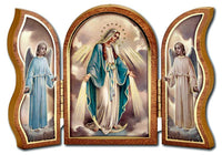 "Our Lady of Grace Standing Wood Triptych 5""x3.5"" Hirten 1205-200"