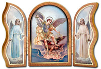 "St. Michael the Archangel Standing Wood Triptych 5""x3.5"" Plaque Hirten 1205-330"