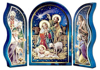 Gold Embossed Standing Nativity Scene Triptych 3.5""