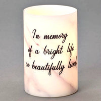"LED 6"" Memorial Wax Candle with Saying - In Memory of a Bright Life... Roman"