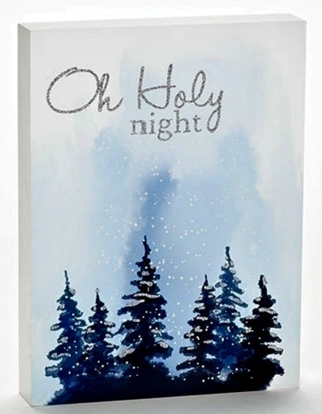 Oh Holy Night Winter Scene Wood Sign Christmas Holiday