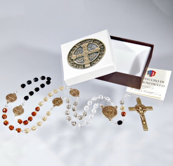 St. Benedict Tri-Color Deluxe Glass Rosary Beads Hirten 1329