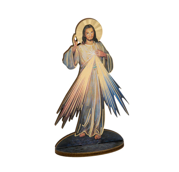 "Laser Cut Jesus Divine Mercy 6"" Standing Wooden Statue Figure - Made in Italy Hirten 1760-123"
