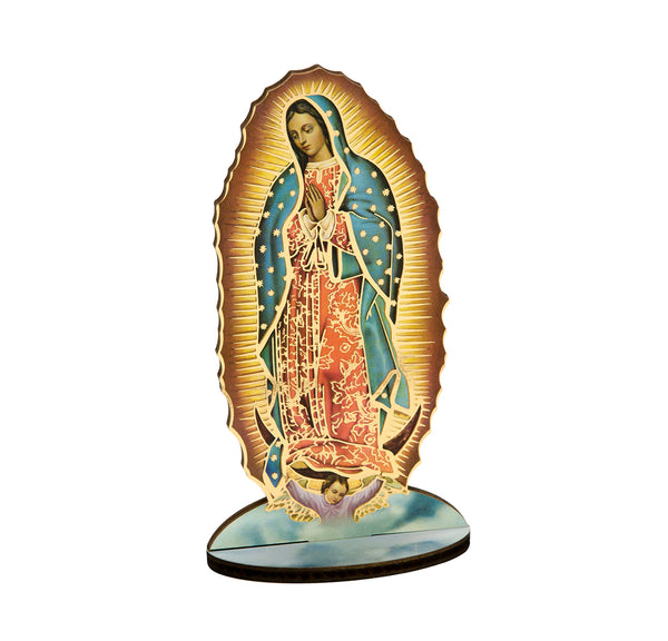 "Laser Cut Our Lady of Guadalupe 6"" Standing Wooden Statue Figure Italy Hirten 1760-H216"