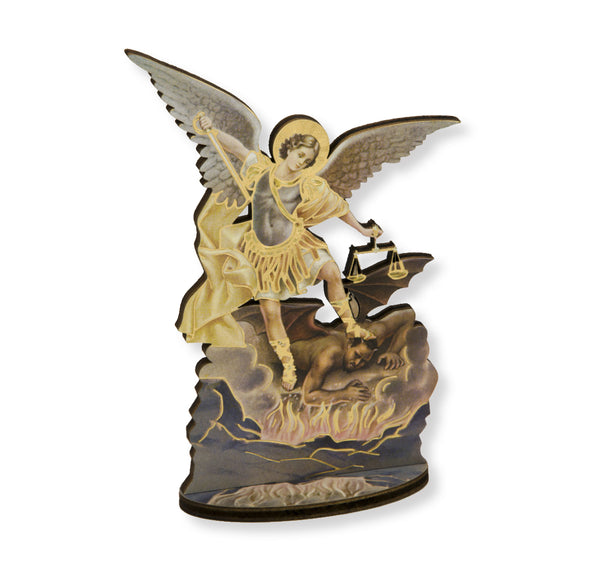 "Laser Cut St. Michael the Archangel 6"" Standing Wooden Statue Figure Italy Hirten 1760-H330"