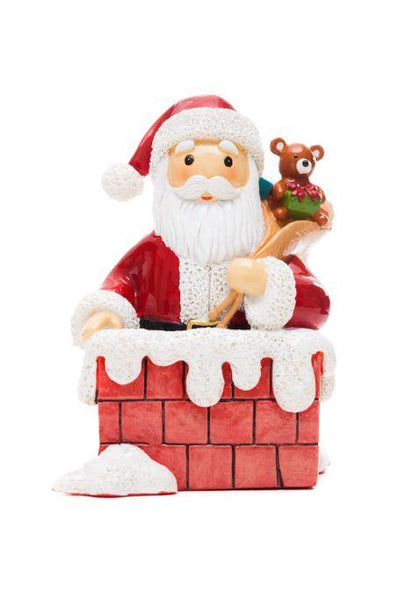 Santa in Chimney Little Drops Of Water Statue Figure NEW Christmas Santa's Back 185619YX
