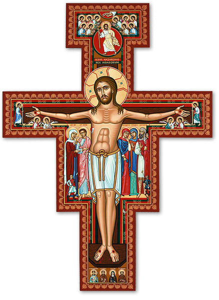 "San Damiano Wooden Wall Crucifix 10"" by Monastery Icons Franciscan 207LG"
