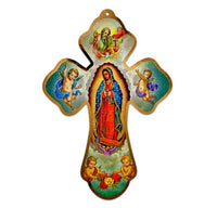 "Gold Stamped Our Lady of Guadalupe with Cherubs 7"" Wood Wall Cross,- ITALY"