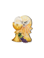 First Communion 3-D Chalice Grapes & Holy Spirit Plaque MADE IN ITALY