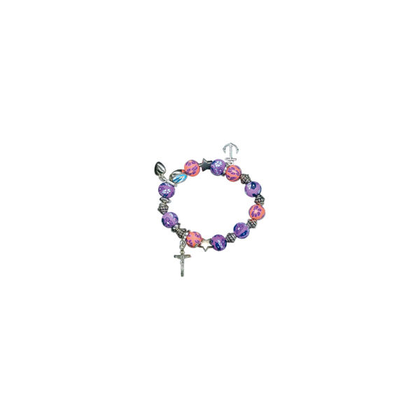Multi-Color Bead Stretch Charm Bracelet Our Lady of Grace Image Fars 2683-T