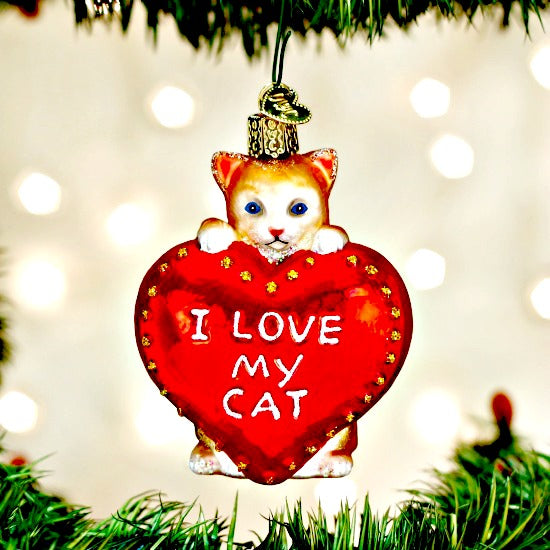 I Love My Cat Old World Christmas Ornament - Glass