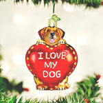 I Love My Dog Old World Christmas Ornament - Glass