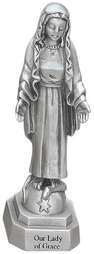"Our Lady of Grace 3.5"" Pewter Statue - Made in USA!"