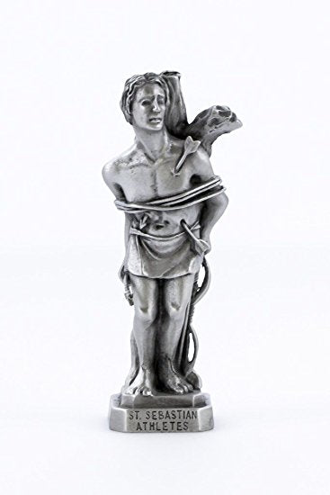 "St. Sebastian 3.5"" Pewter Statue Patron Saint of Athletes - Made in USA!"