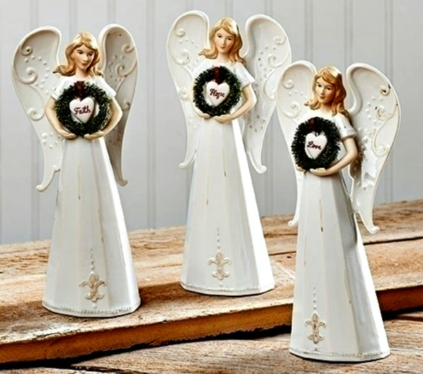 "Faith Hope Love Stoneware 8"" Angels with Wreath Set of 3"