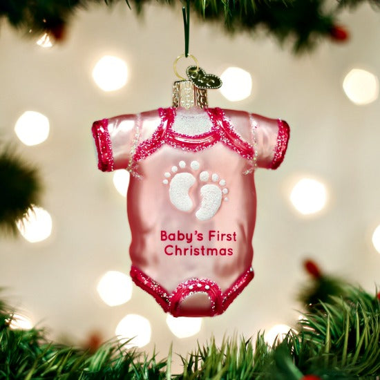 Pink One Piece Baby Oufit Baby's First Old WorldvChristmas Ornament - Girl