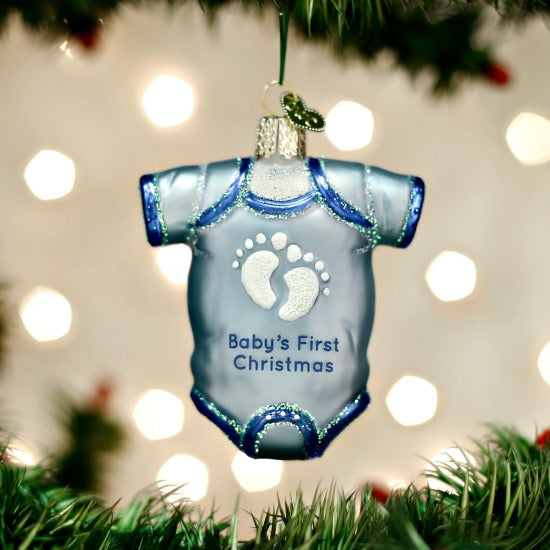 Blue Baby One Piece Outfit Old World Christmas Ornament - Boy