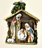 Holy Family in Stable Christmas Ornament by Joseph's Studio