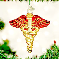Medical Symbol Caduceus Old World Christmas Ornament NEW Great Doctor or Nurse
