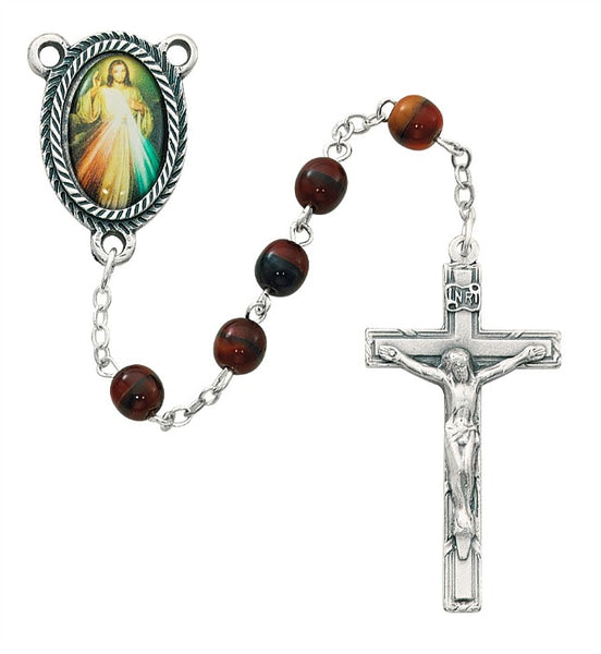 6MM Red Divine Mercy Rosary - Boxed - By McVan 363R