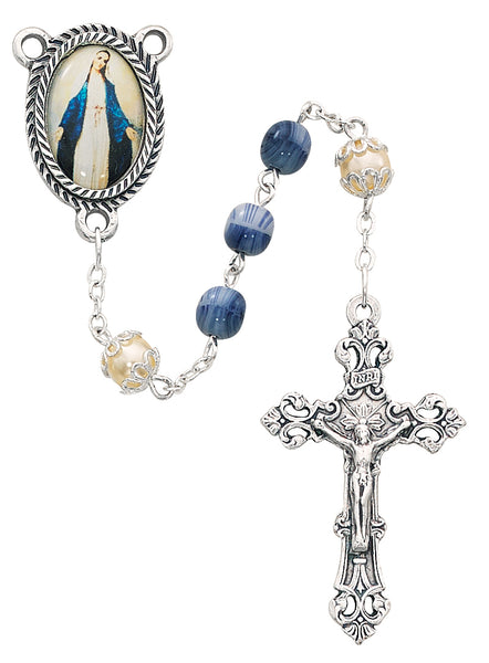 6MM Blue & Pearl Our Lady of Grace Rosary By  McVan 364R