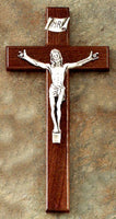 Walnut Sign Language Wall Crucifix for Deaf Hearing Impaired Jeweled Cross