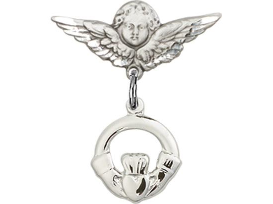 Claddagh Charm & Guardian Angel Sterling Silver Baby Badge Lapel Pin Bliss 4113SS/0735SS