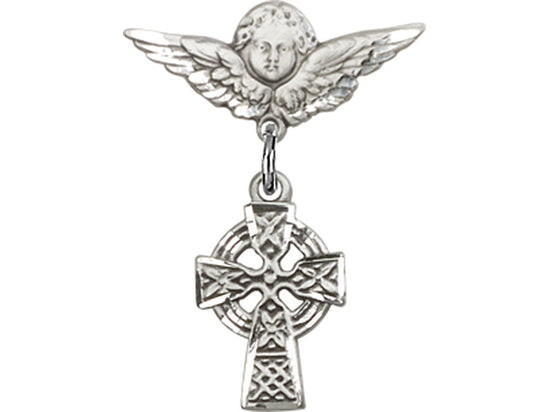 Celtic Cross Guardian Angel Sterling Silver Baby Badge Lapel Pin Bliss 4133SS/0735SS