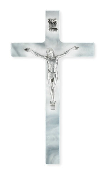 "First Communion White Pearlized 7"" Wall Crucifix Pewter Corpus"