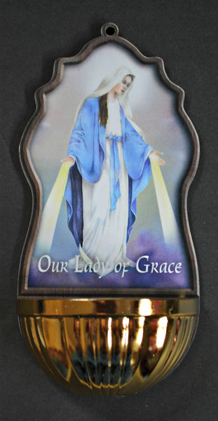 Our Lady of Grace Holy Water Font - Virgin Mary 45-700-GR