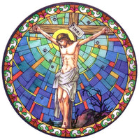 Crucifixion Stained Glass Suncatcher Sticker Window Cling